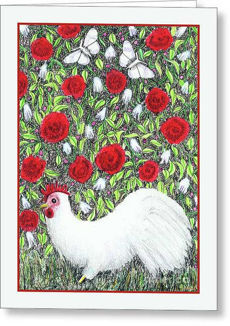 Chicken And Butterflies In The Flowers Greeting Card