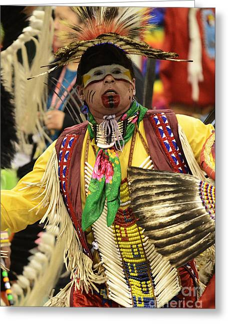 Pow Wow Chicken Dancer Greeting Card by Bob Christopher