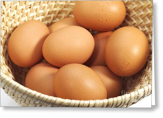 Chicken Eggs In A Basket Greeting Card by Gerard Lacz