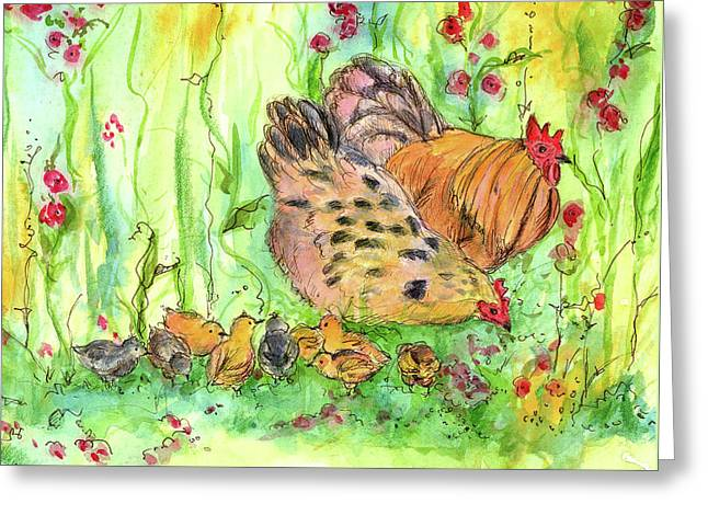 Greeting Card featuring the painting Chicken Family by Cathie Richardson