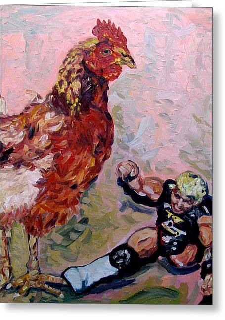 Chicken Pow Greeting Card by Eul Hurley