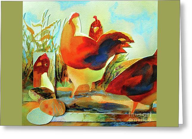 Chicken Puzzler- Where Are My Eggs Greeting Card by Kathy Braud