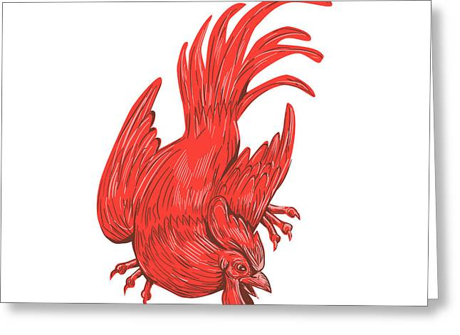 Chicken Rooster Crouching Drawing Greeting Card by Aloysius Patrimonio