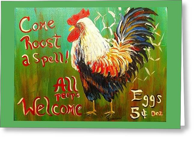 Chicken Welcome 3 Greeting Card