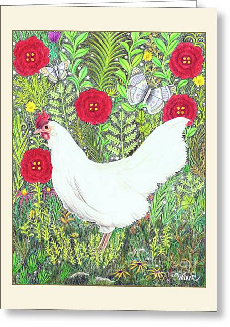Chicken With Millefleurs And Butterflies  Greeting Card