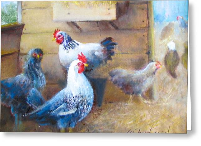 Greeting Card featuring the painting Chickens All Cooped Up by Oz Freedgood