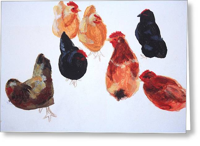 Chickens Greeting Card by Sarah Vandenbusch