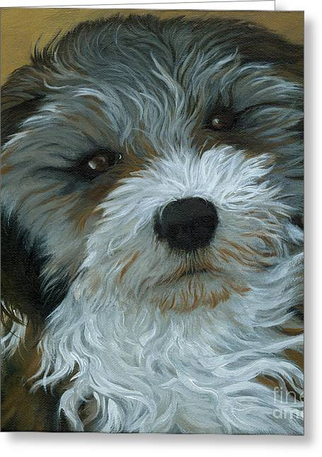 Chico - Dog Portrait Oil Painting Greeting Card by Linda Apple