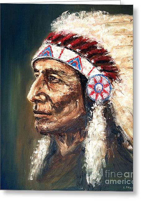 Chief Greeting Card by Arturas Slapsys