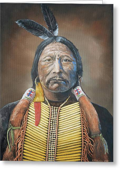 Chief Buckskin Charley Greeting Card by Jerry McElroy