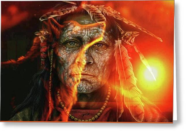 Chief Fire Greeting Card by Tbone Oliver