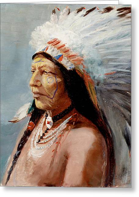 Chief Flying Eagle Of The Blackfoot Tribe Greeting Card by Lewis A Ramsey