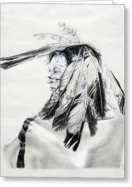 Graphite Pastels Greeting Cards - Chief Greeting Card by Mayhem Mediums