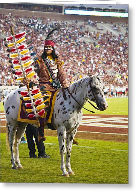 Frank Feliciano Greeting Cards - Chief Osceola and Renegade on Bobby Bowden Field Greeting Card by Frank Feliciano