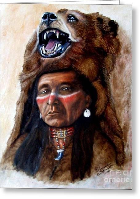 Chief Running Bear Greeting Card by Amanda Hukill