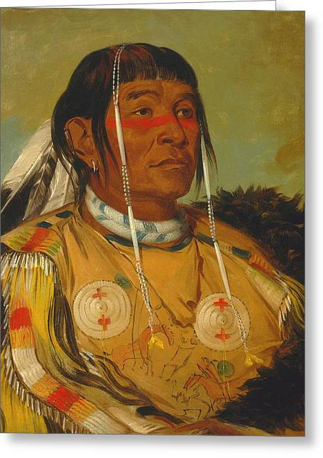 Chief Sha-co-pay Of The Ojibwe Greeting Card by George Catlin