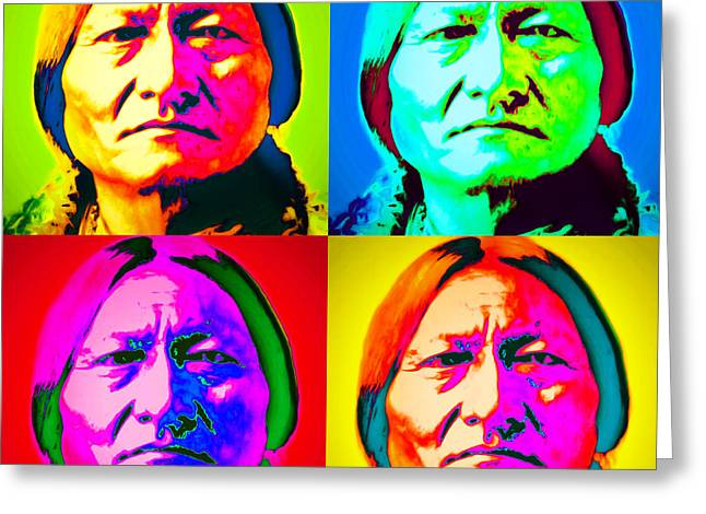 Chief Sitting Bull 20151230 Four Greeting Card by Wingsdomain Art and Photography
