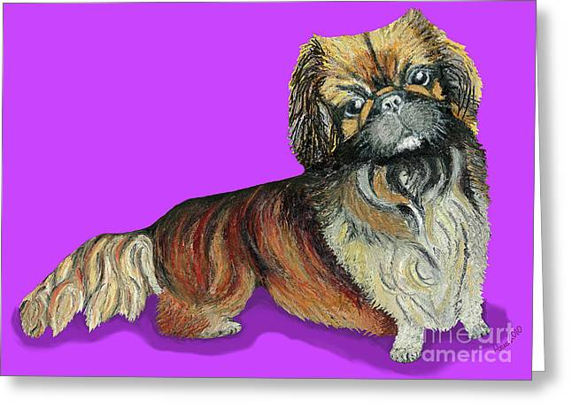 Greeting Card featuring the pastel Chien Chien Pekingese by Ania M Milo