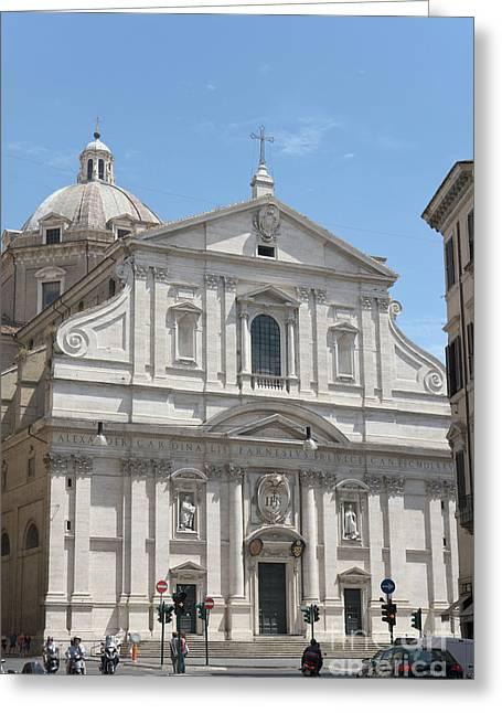 Chiesa Del Gesu' In Piazza Del Gesu' In Rome. Greeting Card by Fabrizio Ruggeri