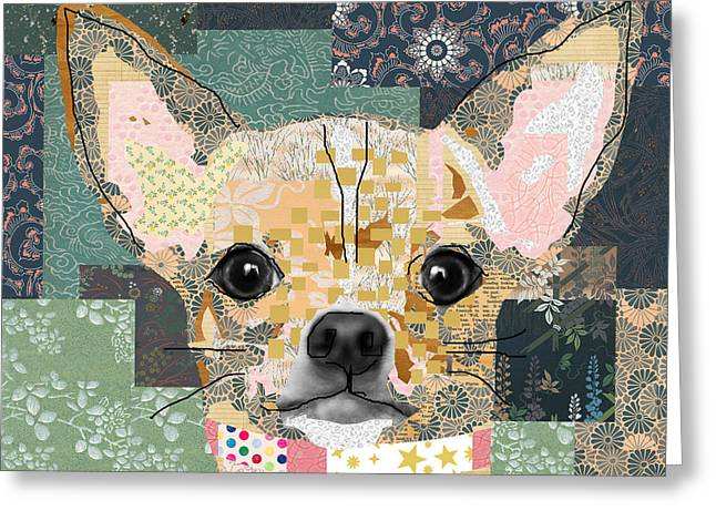 Chihuahua Collage Greeting Card by Claudia Schoen