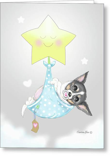 Greeting Card featuring the painting Chihuahua Cookie Baby by Catia Lee