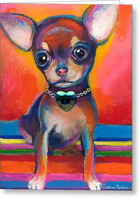 Chihuahua Portraits Greeting Cards - Chihuahua dog portrait Greeting Card by Svetlana Novikova