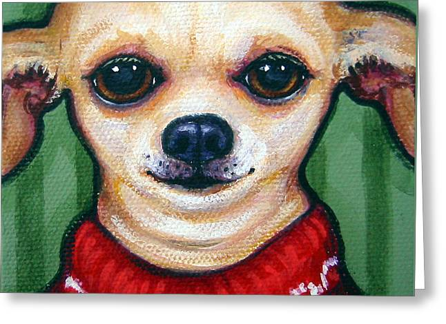 Chihuahua In Red Sweater - Boss Dog Greeting Card by Rebecca Korpita