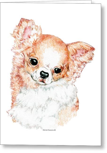 Chihuahua, Long Coat Greeting Card by Kathleen Sepulveda