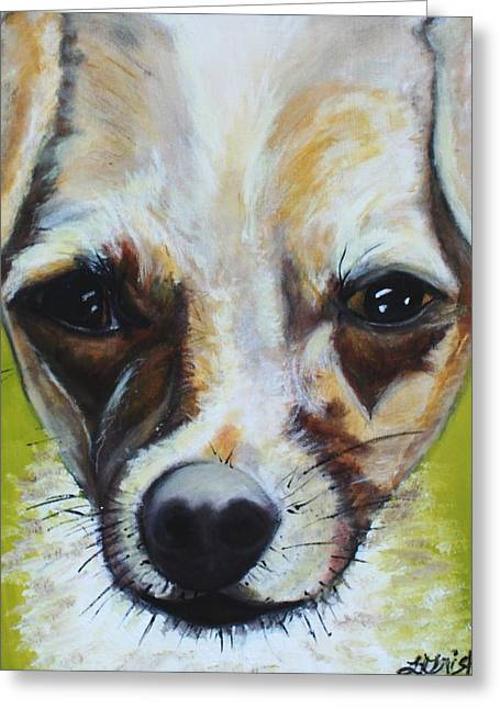Greeting Card featuring the painting Chihuahua Mix- Roxie by Laura  Grisham