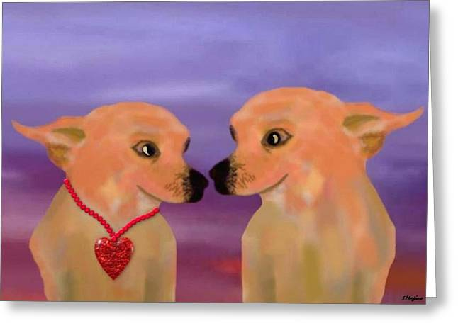 Chihuahua Sunset Greeting Card by Sher Magins
