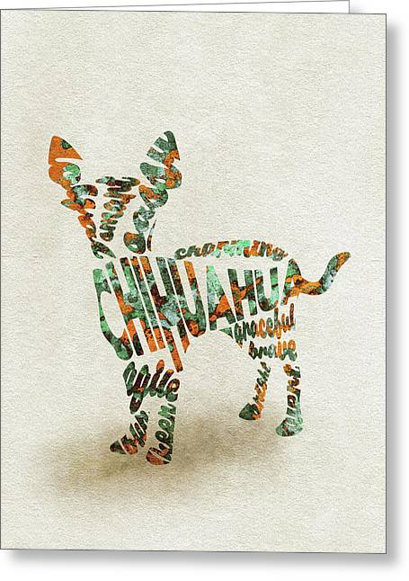 Chihuahua Watercolor Painting / Typographic Art Greeting Card