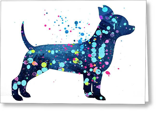 Chihuauua Watercolor Silhouette Painting Greeting Card