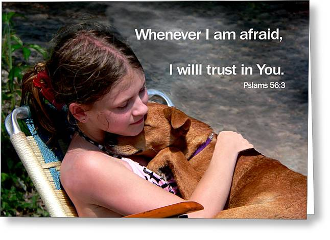 Child And Puppy Psalms Greeting Card