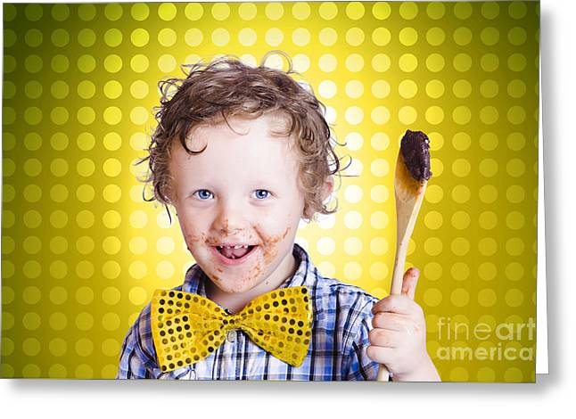 Child Holding Chocolate Covered Cooking Spoon Greeting Card