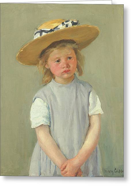 Greeting Card featuring the painting Child In A Straw Hat By Mary Cassatt 1886 by Movie Poster Prints