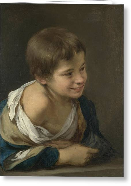 Child Looking Out The Window Greeting Card by Bartolome Esteban Murillo