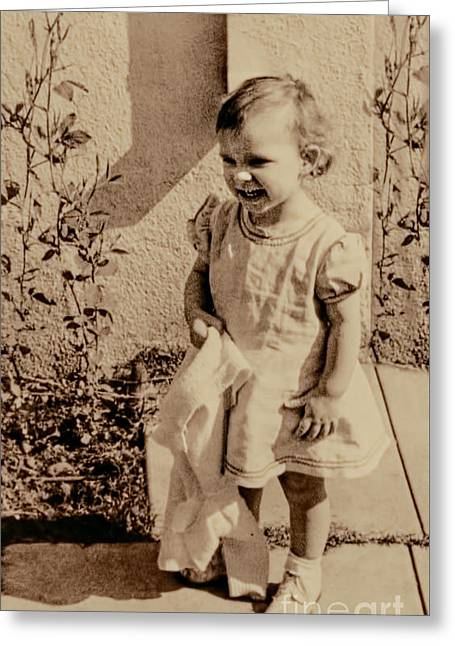 Greeting Card featuring the photograph Child Of 1940s by Linda Phelps