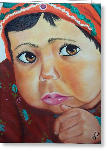 Child Of Afghanistan Greeting Card by Joni McPherson