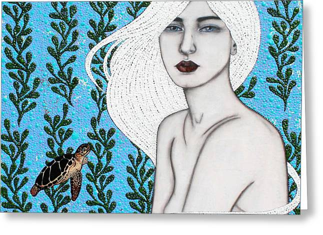 Greeting Card featuring the mixed media Child Of The Ocean by Natalie Briney