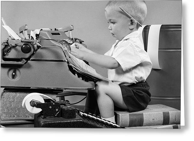 Child Playing Accountant, C.1950s Greeting Card by H Armstrong Roberts ClassicStock