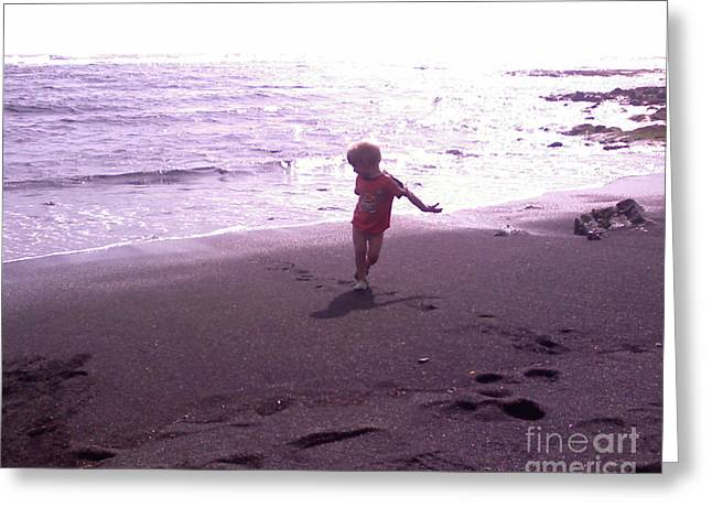Child Running Black Sands Greeting Card by Sacred  Muse
