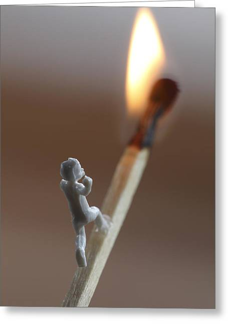 Child Running On A Match Towards The Flame Greeting Card by Ulrich Kunst And Bettina Scheidulin