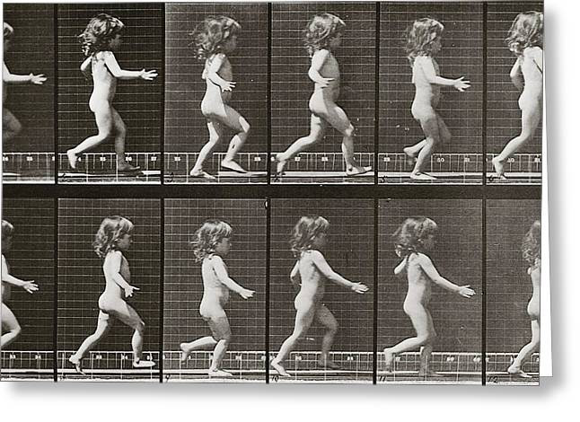 Child Running, Plate 469 From Animal Locomotion, 1887 Greeting Card by Eadweard Muybridge