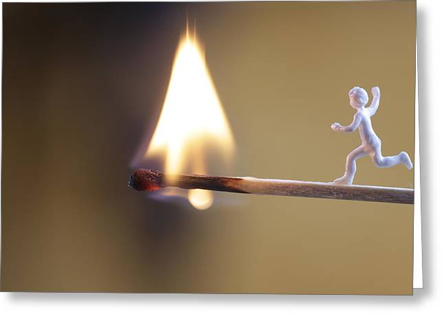 Child Running Towards A Burning Flame Greeting Card by Ulrich Kunst And Bettina Scheidulin