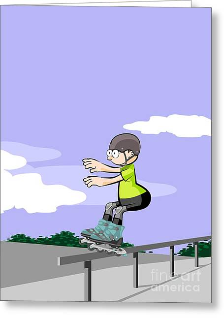 Child Sliding Down The Railing Of The Park Ramp With His Roller Skates On Line. Greeting Card