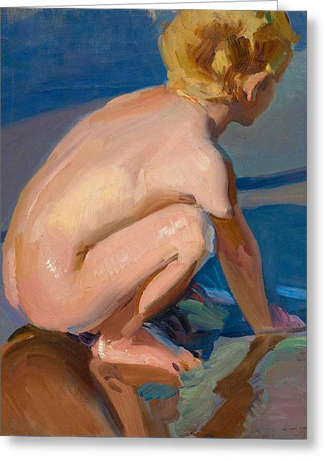 Child Squatting On Beach Of Valencia Greeting Card by Joaquin Sorolla
