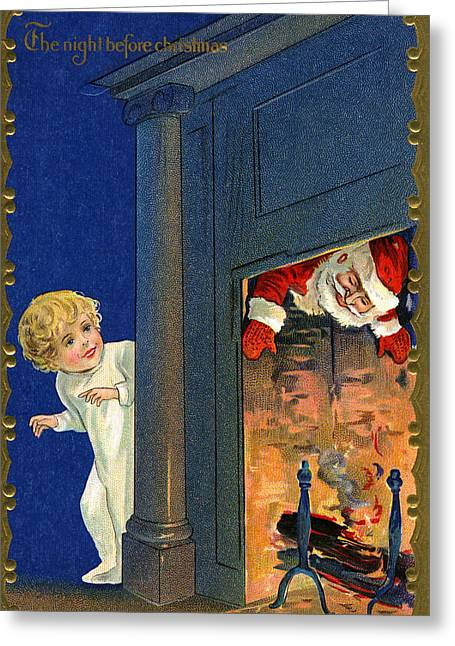 Child Watches As Santa Comes Down Chimney On Christmas Eve Greeting Card