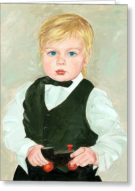 Child Toy Greeting Cards - Child with a Toy Greeting Card by Ethel Vrana