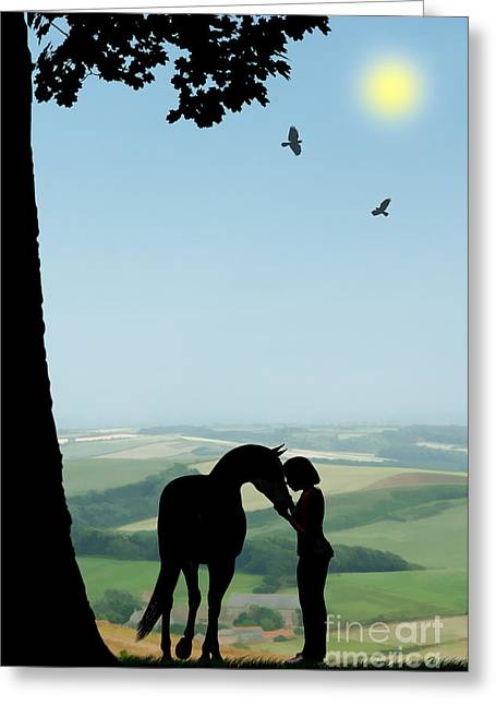 Childhood Dreams The Pony Greeting Card by John Edwards