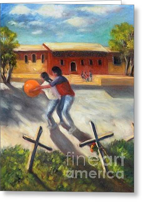 Greeting Card featuring the painting Tres Cruces De La Juventud Y La Vejez by Randol Burns